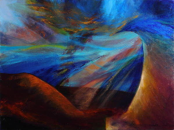 Acrylic Poster featuring the painting Blue Depth by Mishcka OConnor