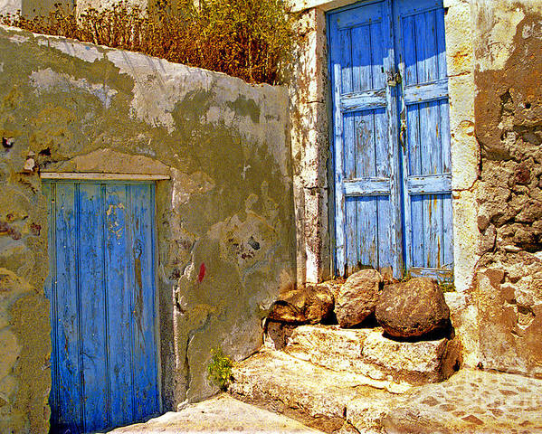 Greece Poster featuring the photograph Blue Doors Of Santorini by Madeline Ellis