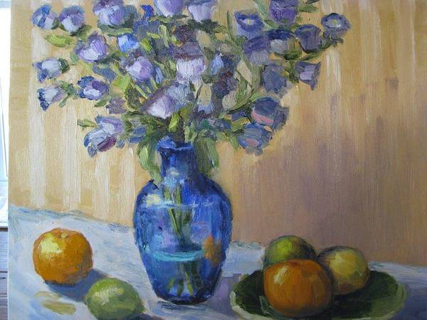 Still Life Poster featuring the painting Blue Flowers And Fruit by Sharon Franke