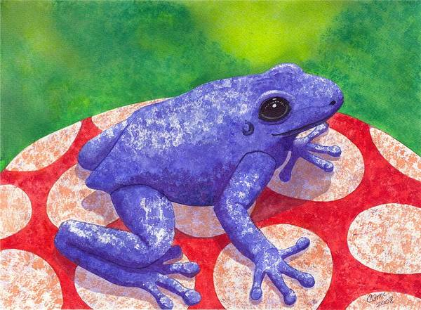 Frog Poster featuring the painting Blue Frog by Catherine G McElroy