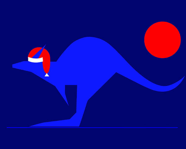 Blue Kangaroo Wishes You A Merry Christmas On Dark Blue Poster featuring the digital art Blue Kangaroo wishes you a Merry Christmas on dark blue by Asbjorn Lonvig