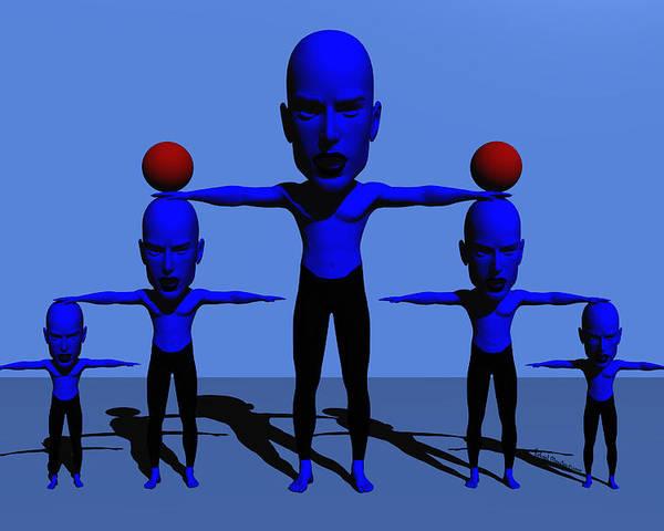 Digital Art Poster featuring the digital art Blue Men by Robert Maestas
