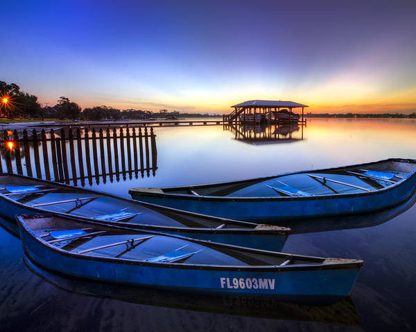 Boats Poster featuring the photograph Blue Morning by Debra and Dave Vanderlaan