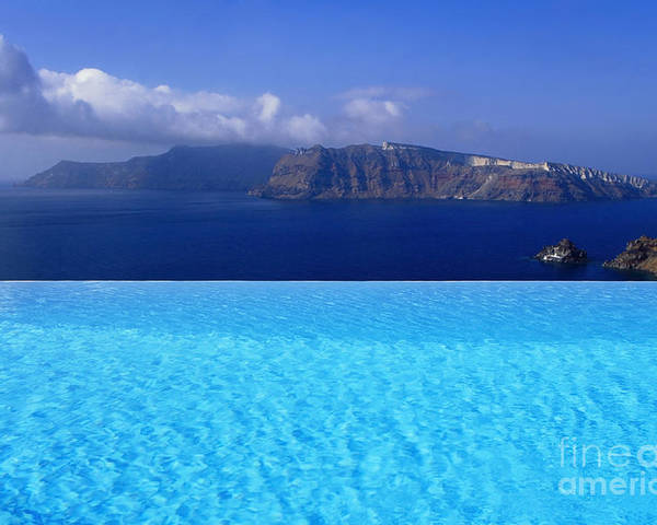Santorini Poster featuring the photograph Blue On Blue by Aiolos Greek Collections