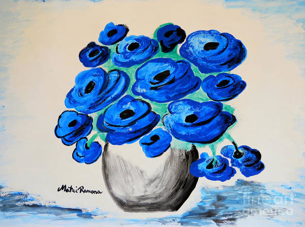 Poppies Poster featuring the painting Blue Poppies by Ramona Matei
