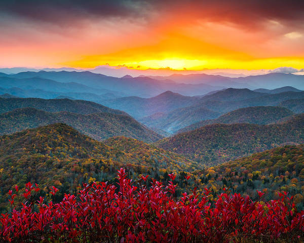 Blue Ridge Parkway Poster featuring the photograph Blue Ridge Parkway Autumn Sunset Nc - Rapture by Dave Allen