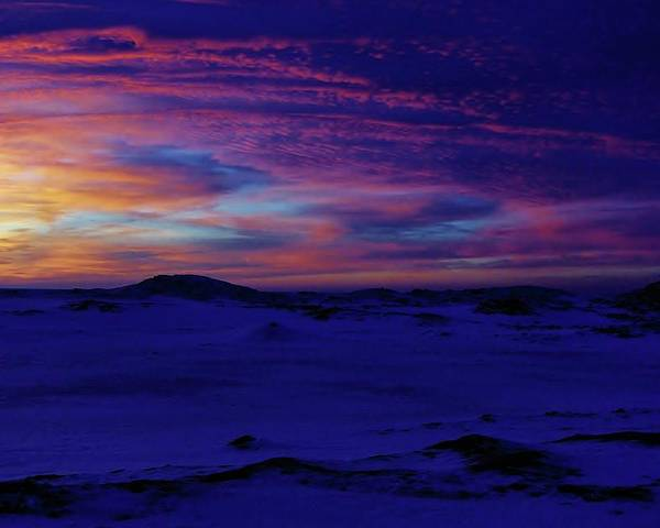 Frozen Blue Shoreline Sunset Poster featuring the photograph Blue Snow Sunset by Kathi Mirto