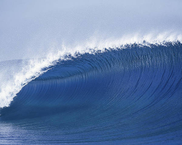 Sea Wave Poster featuring the photograph Blue Spinner by Sean Davey