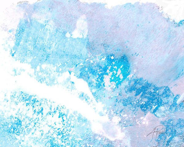 Abstract Poster featuring the mixed media Blue Splash by Ann Powell