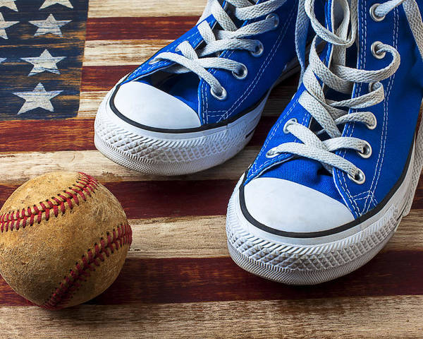 Blue Poster featuring the photograph Blue Tennis Shoes And Baseball by Garry Gay