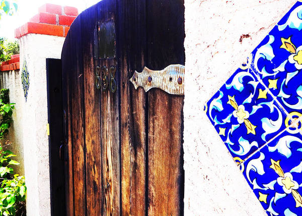 Door Poster featuring the photograph Blue Tile Brown Door 1 by Korynn Neil