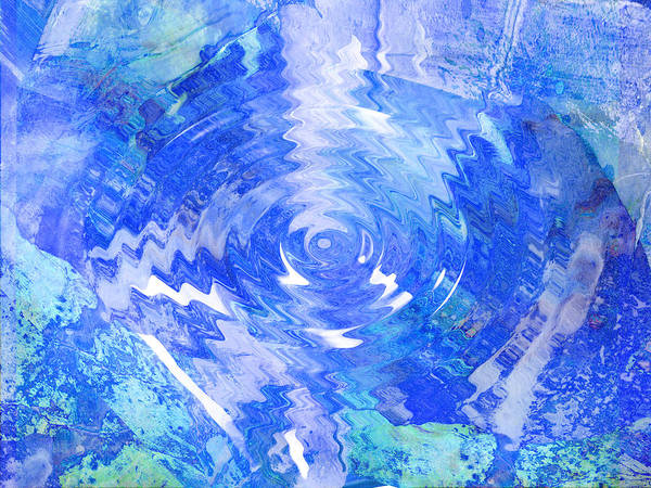 Blue Poster featuring the digital art Blue Twirl Abstract by Ann Powell