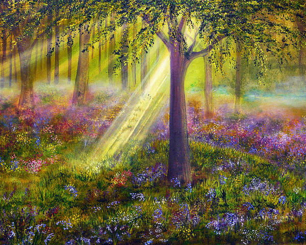 Popular Poster featuring the painting Bluebell Woods by Ann Marie Bone