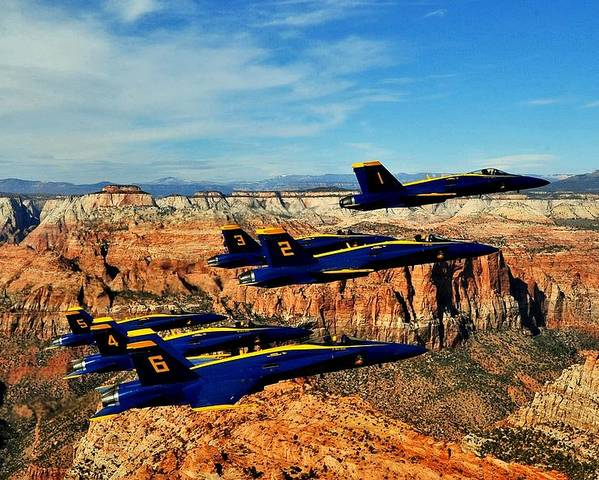 Blue Angels Poster featuring the photograph Blues Over Zion by Benjamin Yeager