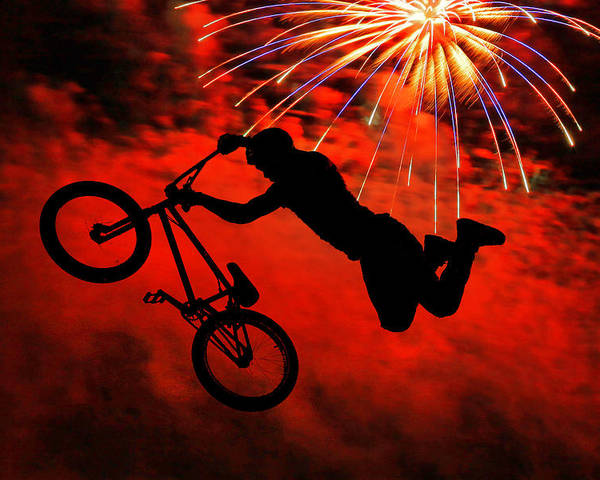 Bmx Poster featuring the photograph Bmx Fireworks by Mike Flynn