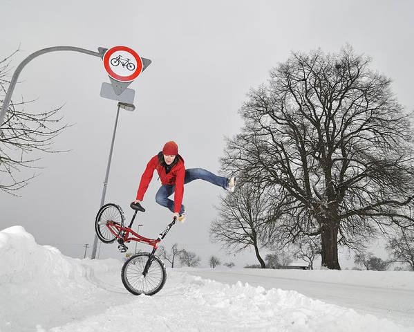 Bmx Flatland Poster featuring the photograph Bmx Flatland In The Snow - Monika Hinz Jumping by Matthias Hauser