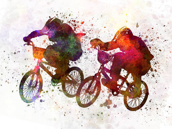 Watercolor Poster featuring the painting Bmx Race by Pablo Romero