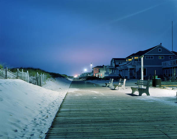 Boardwalk Poster featuring the photograph Boardwalk At Night by Don Sipley