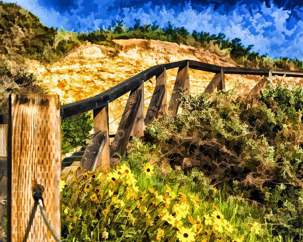 Boardwalk Steps Poster featuring the painting Boardwalk Steps by Anthony Citro