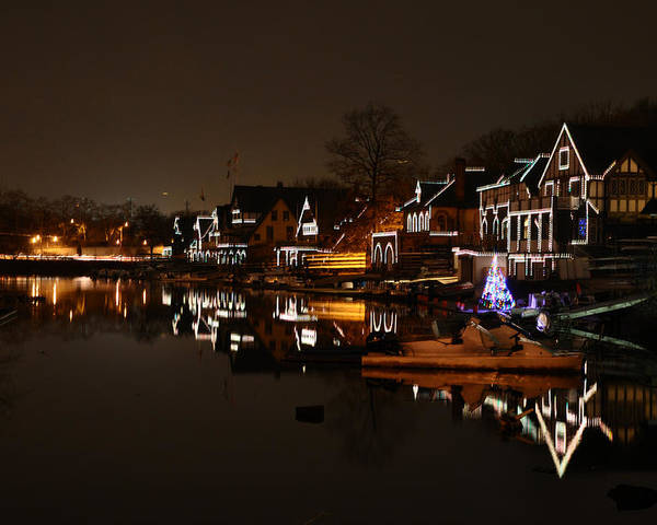 Boathouse Row All Lit Up Poster featuring the photograph Boathouse Row All Lit Up by Bill Cannon