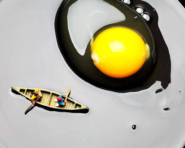 Boating Poster featuring the photograph Boating Around Egg Little People On Food by Paul Ge