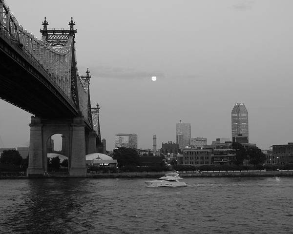 Queensboro Bridge Poster featuring the photograph Boating Under The Bridge by Catie Canetti