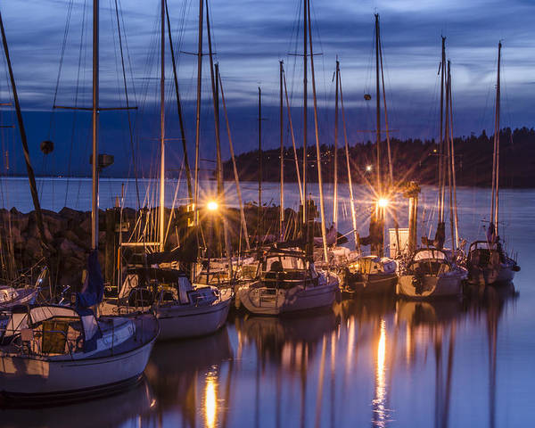 Sunset Poster featuring the photograph Boats At Sunset by Irene Theriau