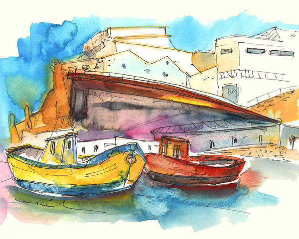 Portugal Art Poster featuring the painting Boats In Ericeira In Portugal by Miki De Goodaboom