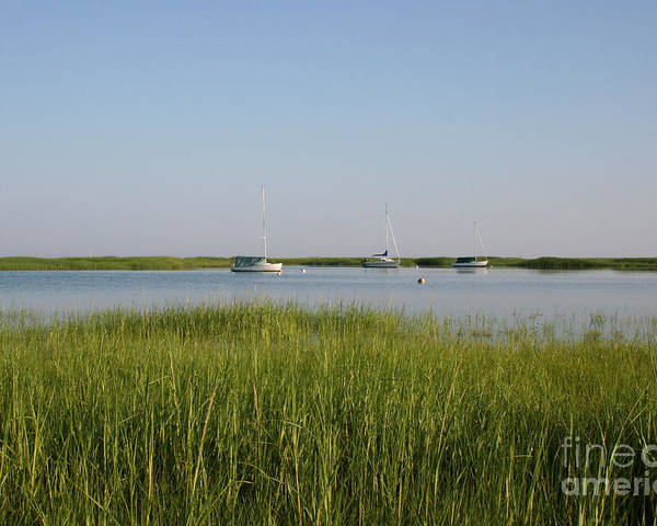 Beach Poster featuring the photograph Boats On A Calm Bay.03 by John Turek