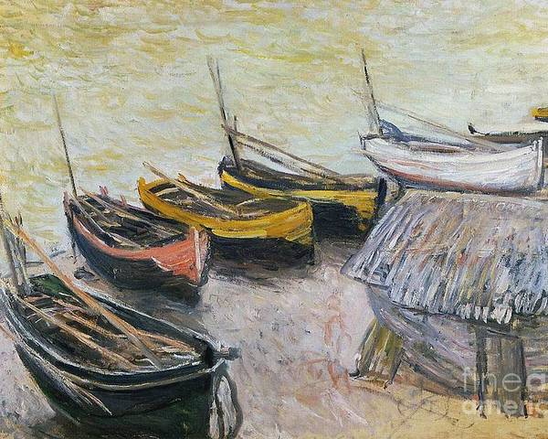 Boats On The Beach Poster featuring the painting Boats On The Beach by Claude Monet