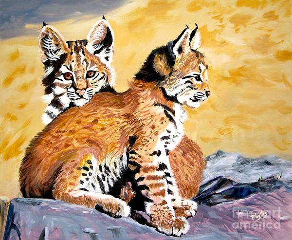 Bobcat Kittens Poster featuring the painting Bob Kittens by Phyllis Kaltenbach