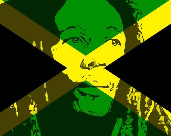 Bob Marley On Jamaican Flag Poster By Dan Sproul