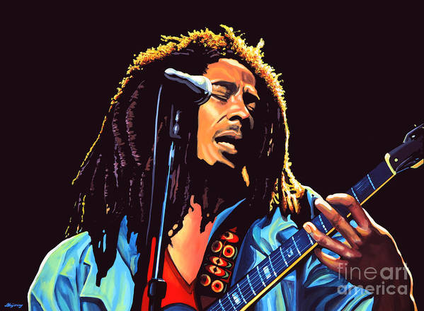 Bob Marley Poster featuring the painting Bob Marley by Paul Meijering