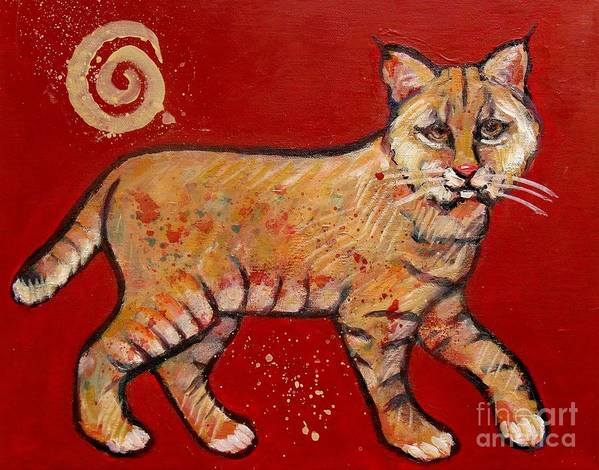 Bob Cat Poster featuring the painting Bobcat by Carol Suzanne Niebuhr