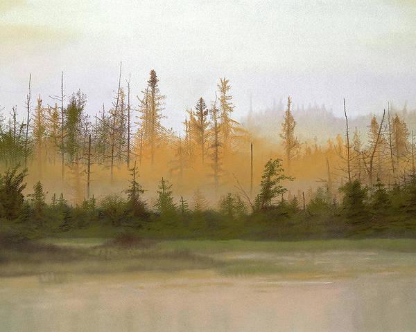 Landscape Poster featuring the pastel Bog Out Back by Bruce Richardson