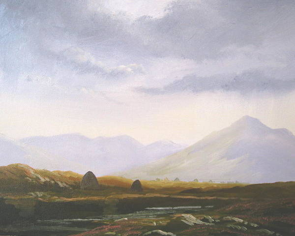 Irish Landscape Painting Oil Print West Of Ireland Irish Poster featuring the painting Bogland Light by Cathal O malley