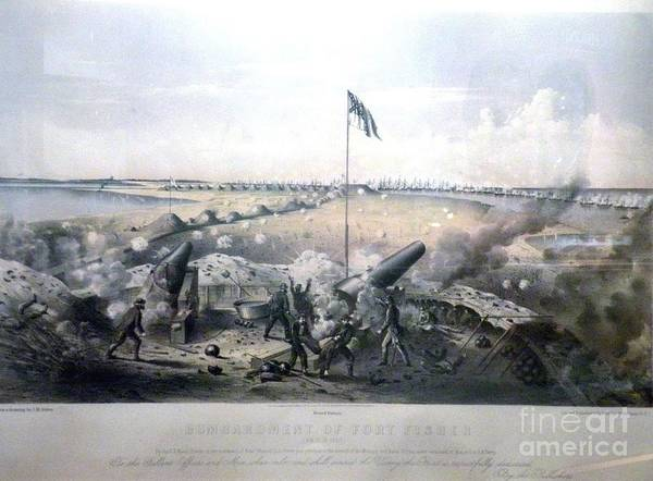 American Civil War Poster featuring the painting Bombardment Of Fort Fisher by Celestial Images