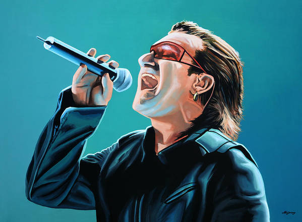 U2 Poster featuring the painting Bono Of U2 Painting by Paul Meijering