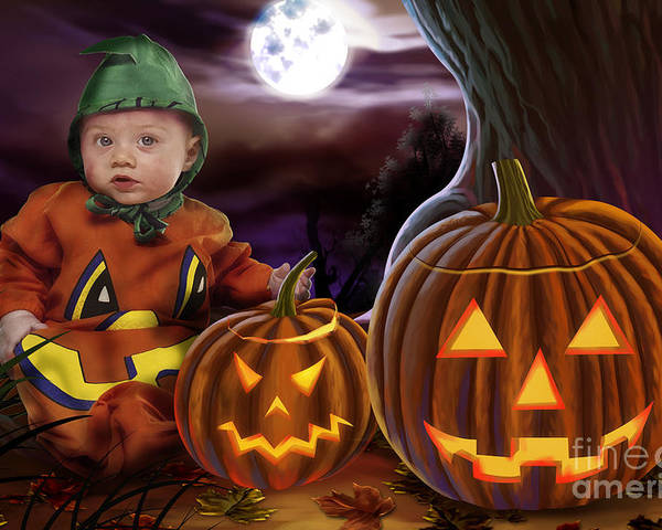 Baby Poster featuring the digital art Boo Baby Pumpkins by Peter Awax