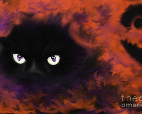 Black Cat Poster featuring the painting Boo by Roxy Riou