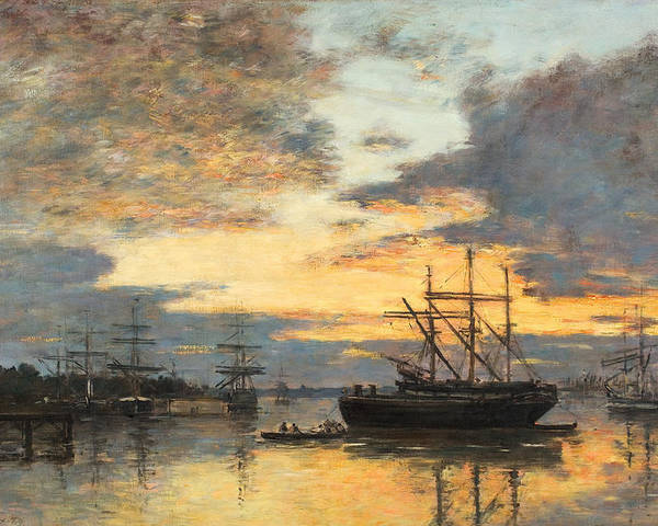 Bordeaux Poster featuring the painting Bordeaux In The Harbor by Eugene Louis Boudin