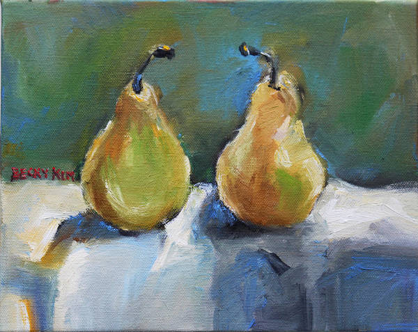 Oil Poster featuring the painting Bosc Pears by Becky Kim