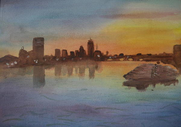Boston Poster featuring the painting Boston Charles River At Sunset by Donna Walsh