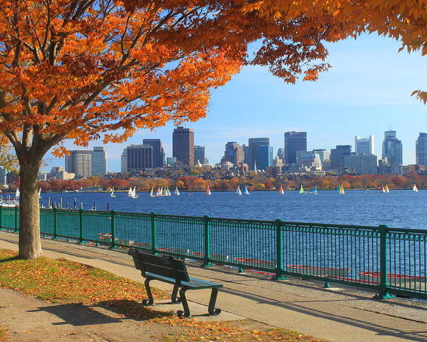 Boston Poster featuring the photograph Boston Charles River In Autumn by John Burk