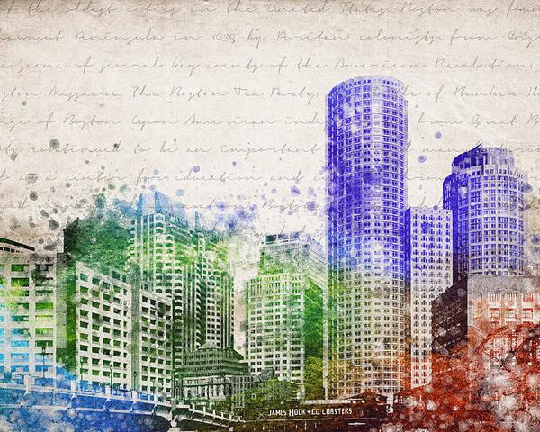 Boston City Skyline Poster featuring the digital art Boston City Skyline by Aged Pixel