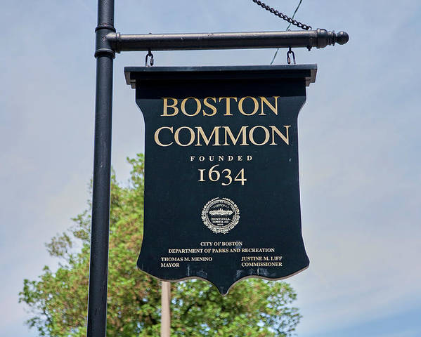 Photography Poster featuring the photograph Boston Common Park Sign, Boston, Ma by Panoramic Images