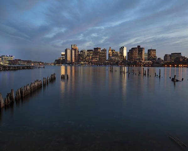 Boston Poster featuring the photograph Boston Skyline At Dusk by Eric Gendron