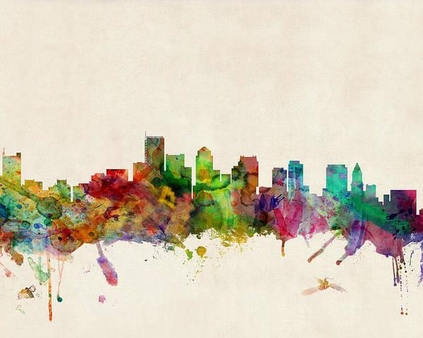 Watercolour Poster featuring the digital art Boston Skyline by Michael Tompsett