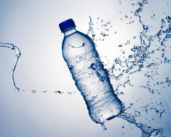 Water Poster featuring the photograph Bottle Water And Splash by Johan Swanepoel
