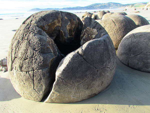 Moeraki Boulders Poster featuring the photograph Boulders by Joyce Woodhouse